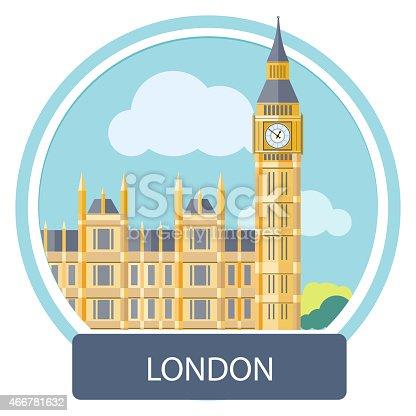 istock Illustration of Big Ben and Westminster Bridge, London, UK 466781632