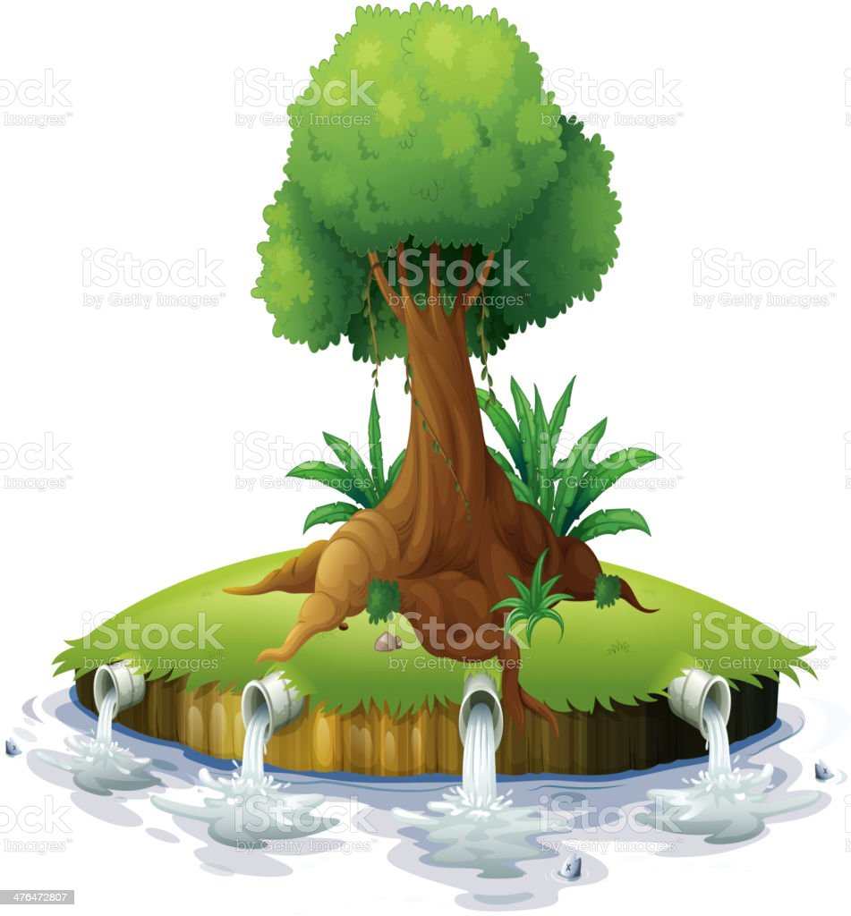 Illustration of big tree on small round island vector art illustration