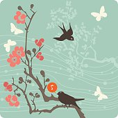 Illustration of birds and butterflies on a flowering branch