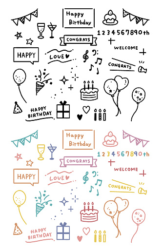 Illustration of birthday text and motif icons