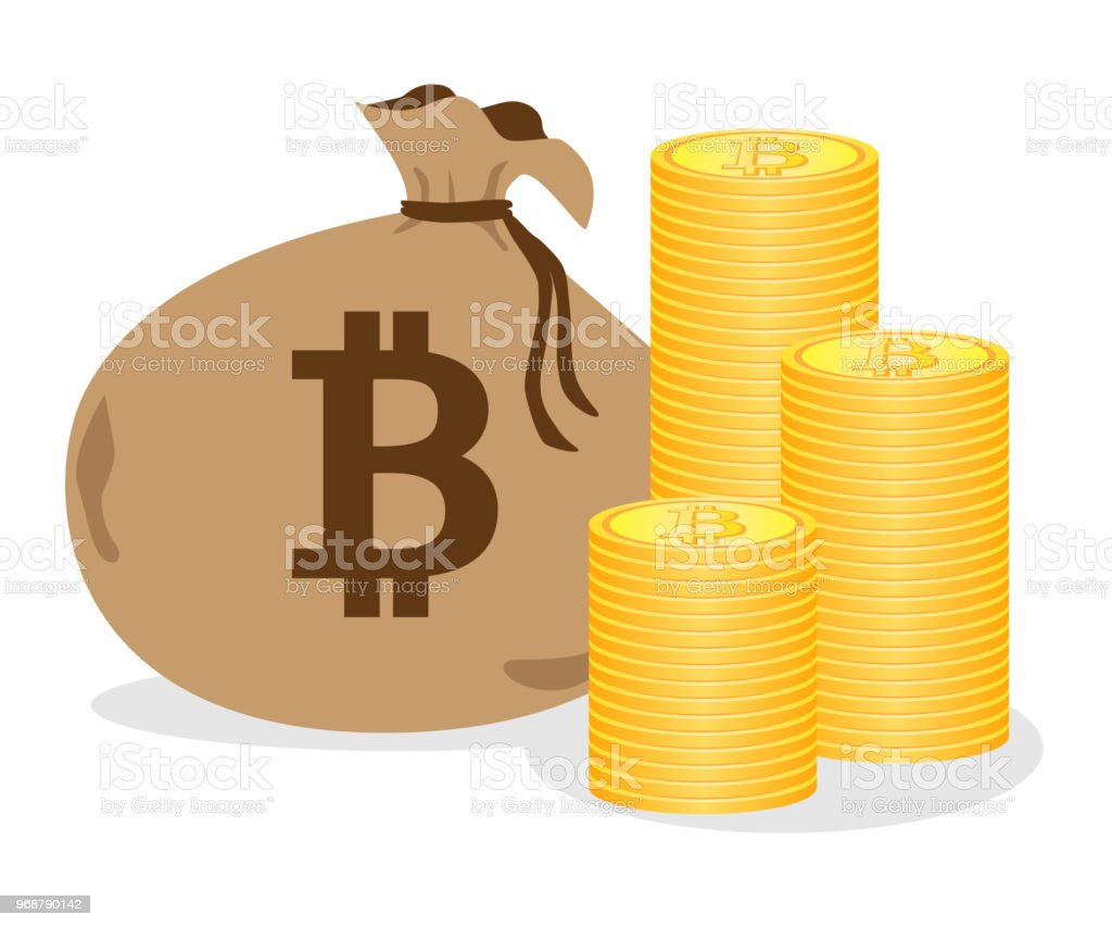 Illustration of bitcoin and bags. vector art illustration