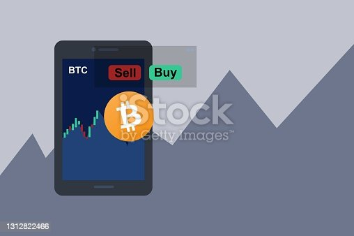 istock Illustration of Bitcoin Sell Or Buy At Increasing Price Value 1312822466