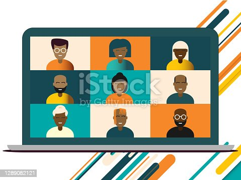 istock Illustration of black African American team in video conference call of friends or colleagues on a macbook laptop screen for diverse working from home during lockdown 1289082121