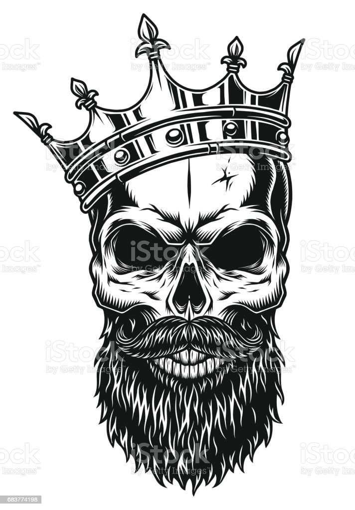 Illustration Of Black And White Skull In Crown With Beard Royalty Free