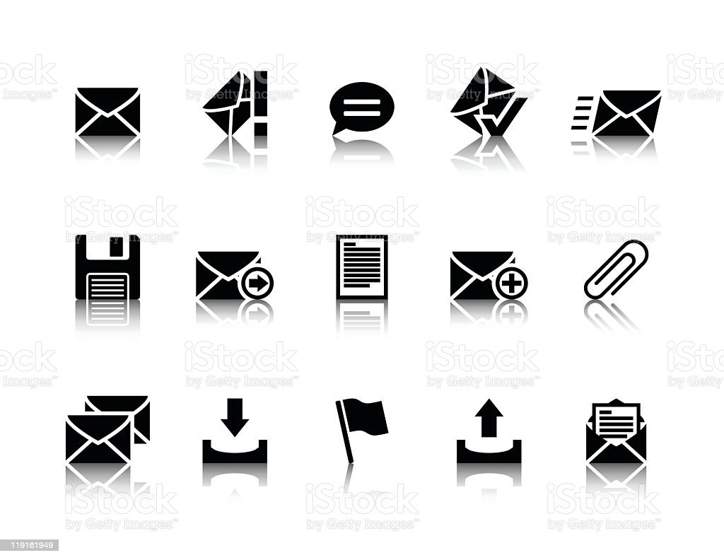 Illustration of black email icons vector art illustration