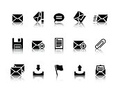 Illustration of black email icons