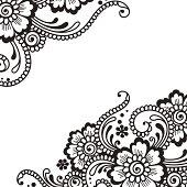 Illustration of black flower ornament on white