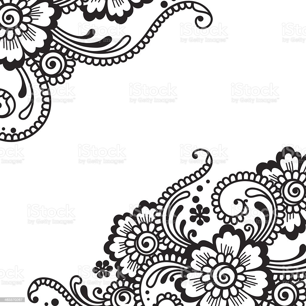 Illustration of black flower ornament on white vector art illustration