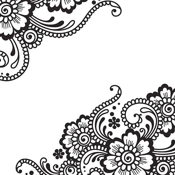 Illustration von Schwarz Blume ornament auf Weiß – Vektorgrafik