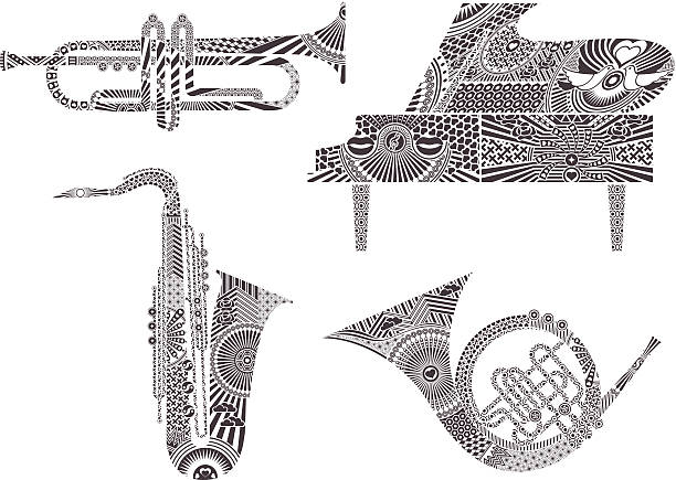 instrumenty muzyczne - waltornista stock illustrations