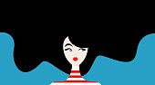 Vector illustration of beautiful woman with black hair on blue background