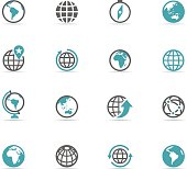 Icon Set, Globe on white background, made in adobe Illustrator (vector)