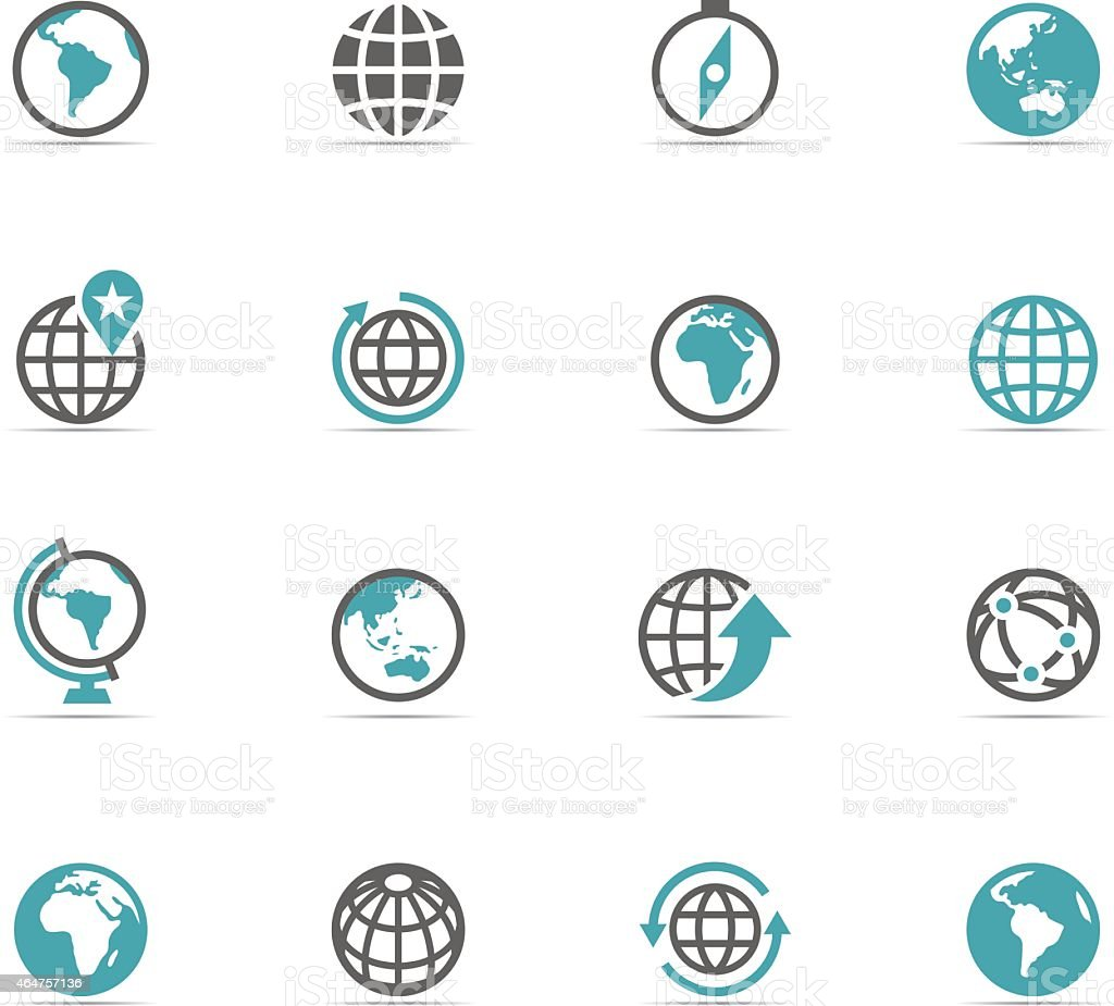 Illustration of blue and gray globe icons vector art illustration