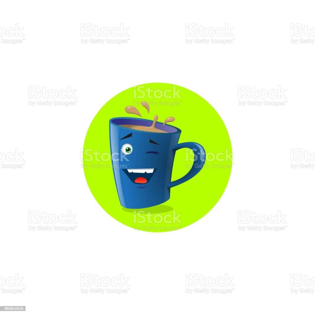 illustration of blue cartoon funny mug that playfully winks royalty-free illustration of blue cartoon funny mug that playfully winks stock vector art & more images of anthropomorphic smiley face