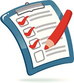Illustration of blue clipboard with checklist and red pencil