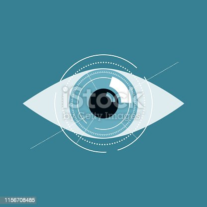 istock Illustration of blue eye future technology or medical concept. 1156708485