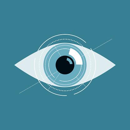 Illustration Of Blue Eye Future Technology Or Medical Concept — стоковая векторная графика и другие изображения на тему Абстрактный
