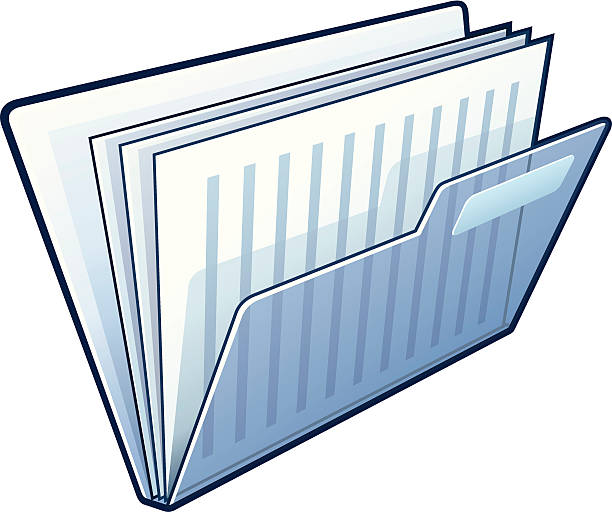 Illustration of blue folder holding documents  vector art illustration
