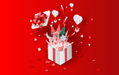 3D illustration of bonfire and fireworks art decorations in Christmas with gift box concept. Creative design paper cut and craft for festival party holiday winter season. graphic idea vacation vector.