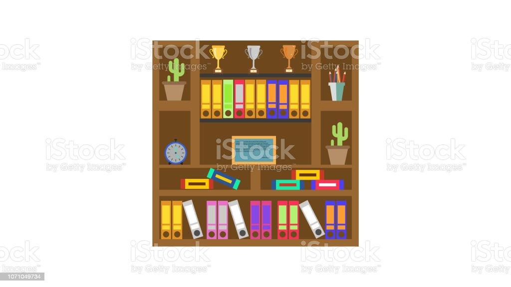 Boekenplank Met Boeken.Illustratie Van Het Boek Plank Met Oude En Nieuwe Boeken