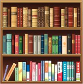 Old and new books on Library Shelf. Vector illustration. EPS8, JPEG + AI CS3