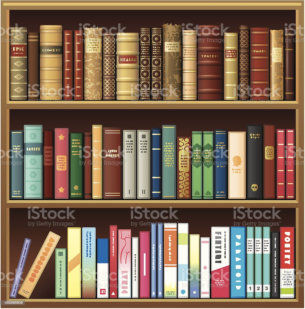 Illustration of book shelf with old and new books vector art illustration