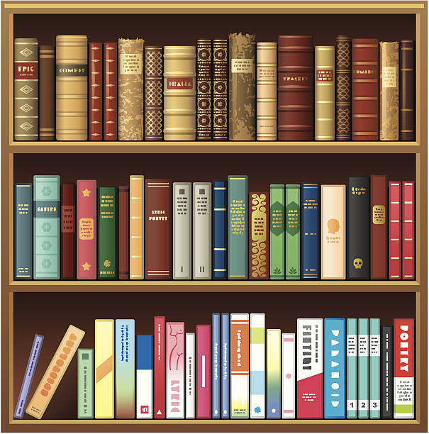 Illustration Of Book Shelf With Old And New Books Vector Art
