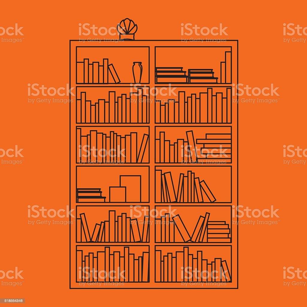 Illustration of bookshelf outline with books in vector, flat style. vector art illustration