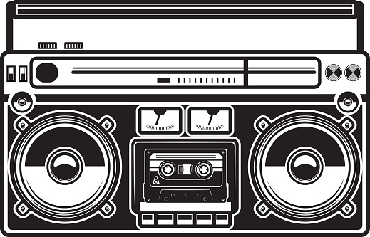 Illustration of boombox isolated on white background. Design element for poster, card, banner, label, sign, badge, t shirt. Vector illustration