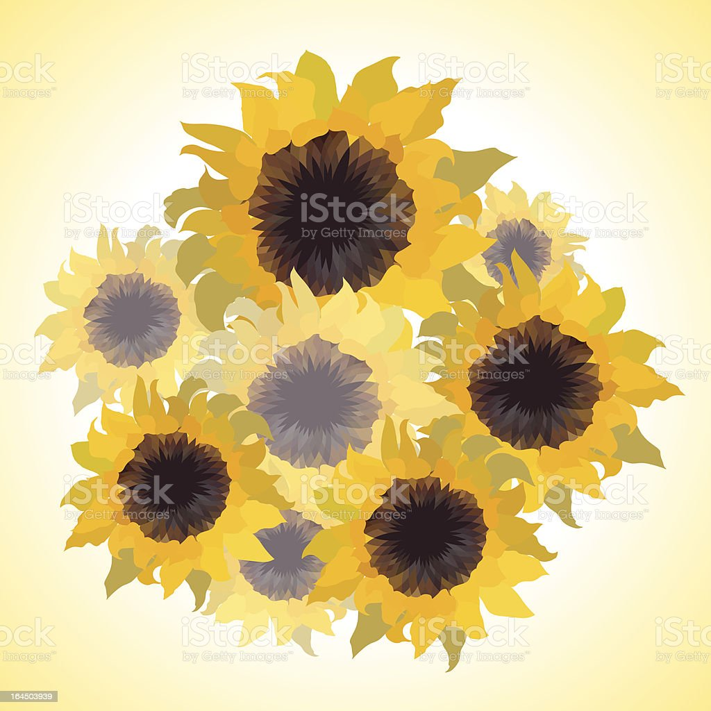 Illustration of bouquet with sunflowers. royalty-free stock vector art