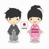 illustration of boy and girl in japanese costume