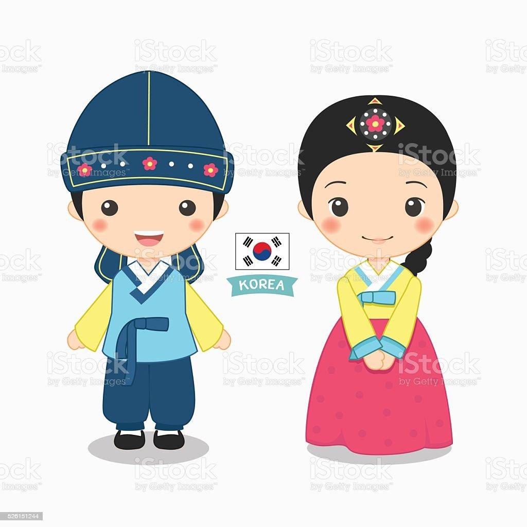 Ilustração de um garoto e uma garota na fantasia coreana - ilustração de arte em vetor