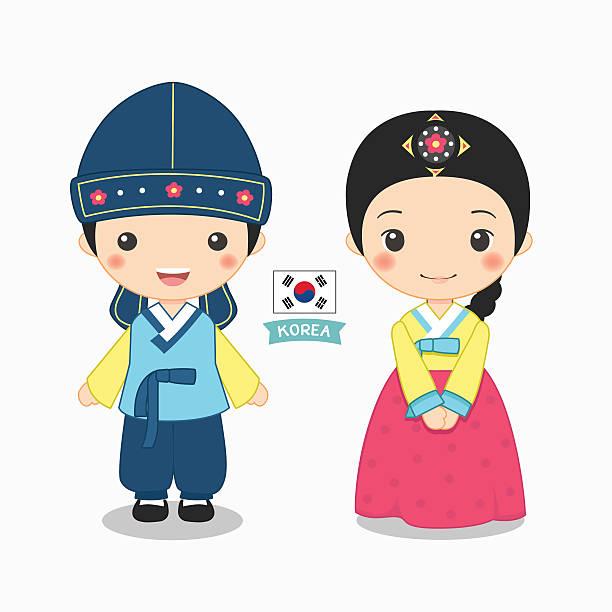 ilustrações, clipart, desenhos animados e ícones de ilustração de um garoto e uma garota na fantasia coreana - bandeira da coreia