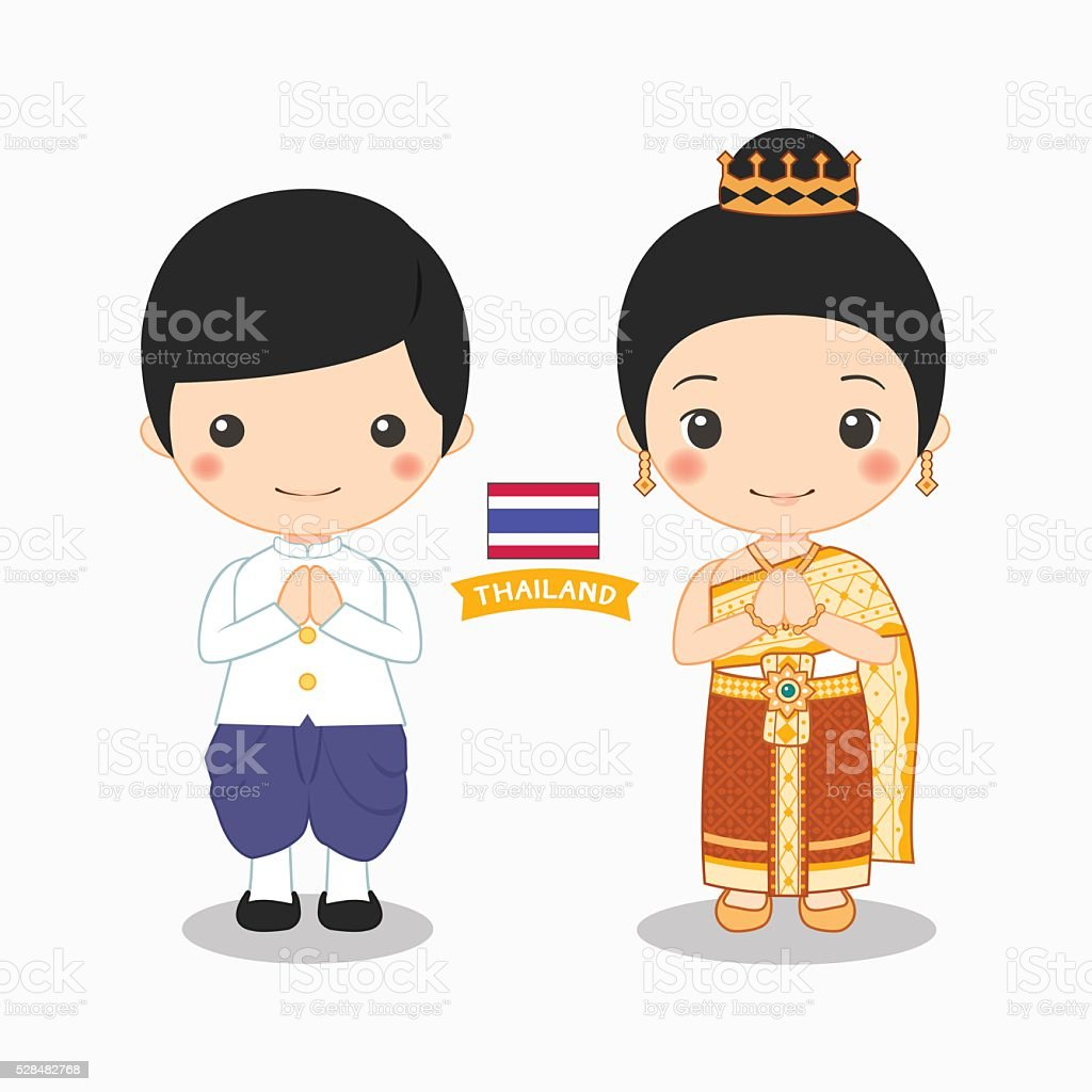 Illustration Of Boy And Girl In Thai Costume Stock Vector ...