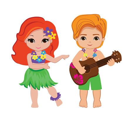 illustration of boy playing guitar and hawaiian girl hula dancing