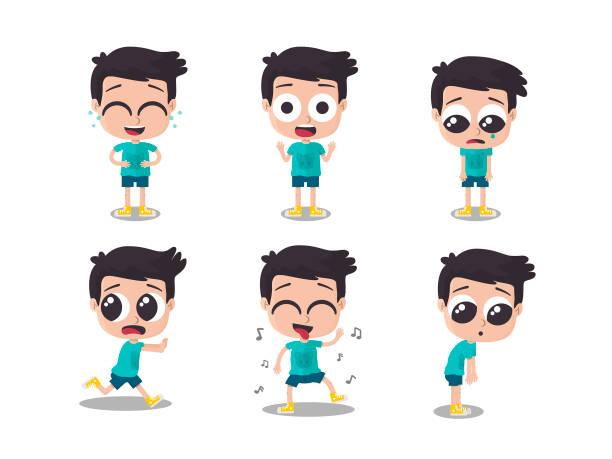 Ilustración del niño que muestra diferentes emociones - ilustración de arte vectorial