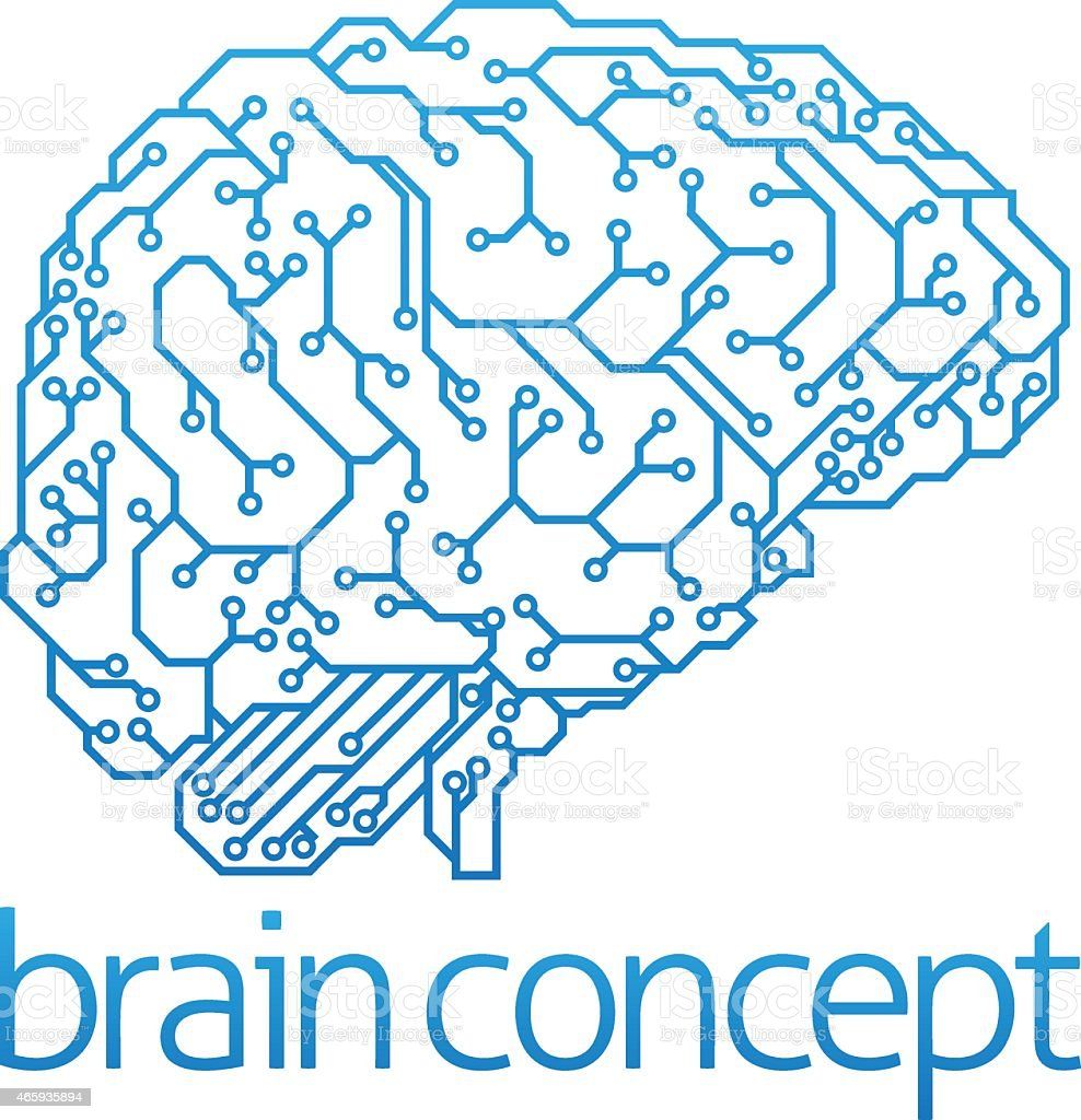 Illustration of brain concept and artificial intelligence vector art illustration