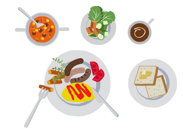 朝食のイラスト。オムレツのクリップアート。スナックのイラスト。 - 食パン点のイラスト素材/クリップアート素材/マンガ素材/アイコン素材