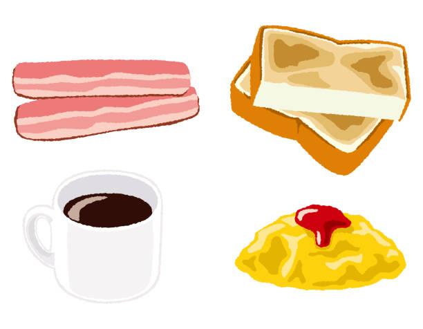 朝食セット/パンのイラスト - 食パン点のイラスト素材/クリップアート素材/マンガ素材/アイコン素材