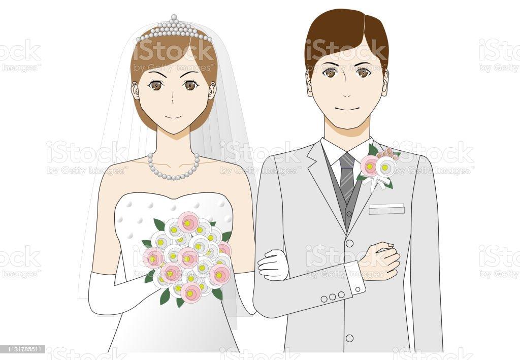Illustration of bride and groom vector art illustration