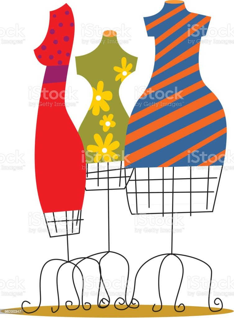 Illustration of brightly colored dresses on wire dress forms vector art illustration