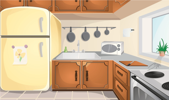 Illustration of brown and grey kitchen with yellow fridge