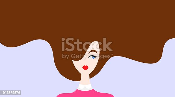 Vector illustration of beautiful woman with brown hair on blue background