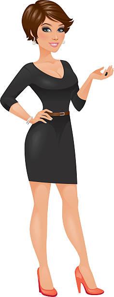 illustration of brunette with short hair in black dress - heyheydesigns stock illustrations