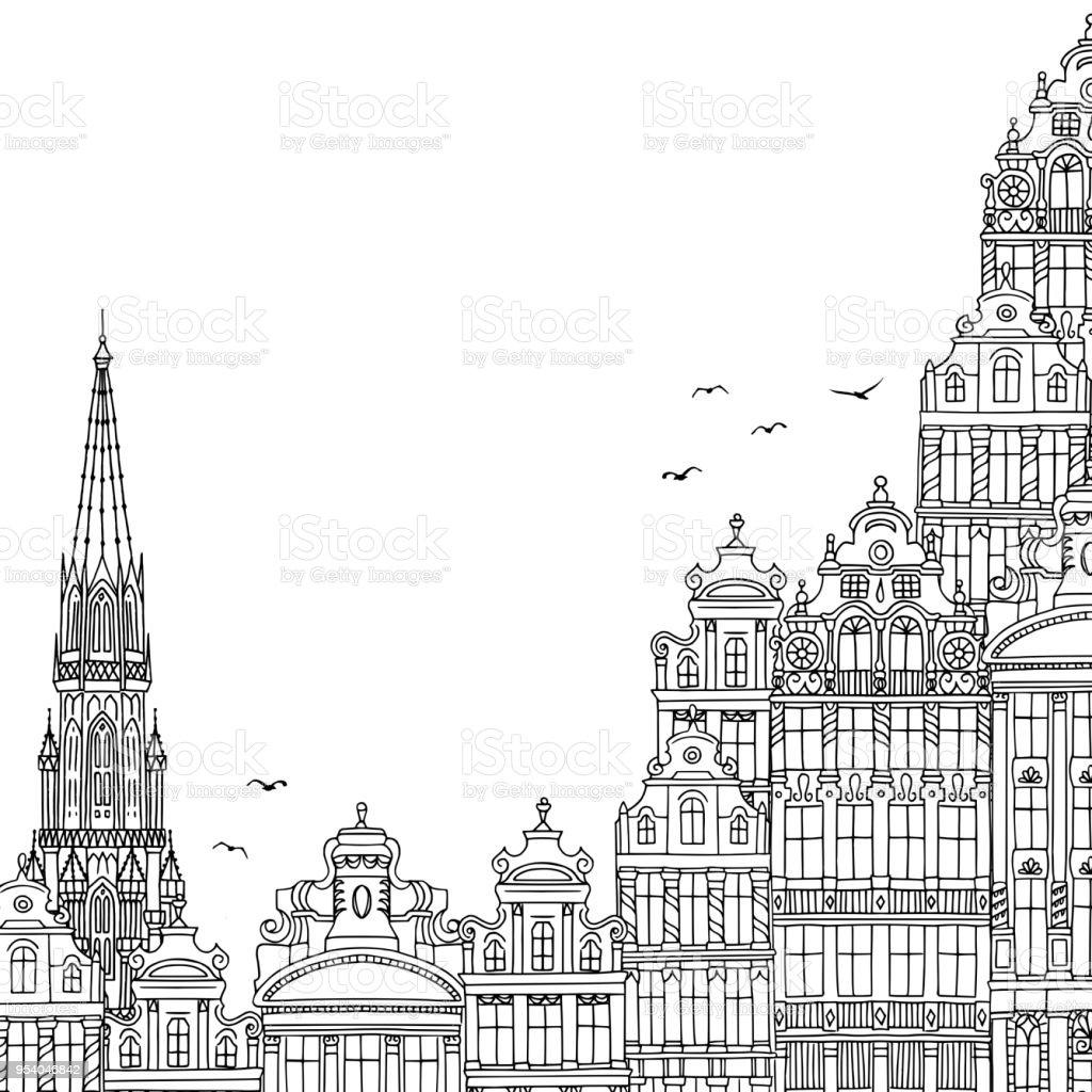 Ilustración de Bruselas con espacio vacío para el texto - ilustración de arte vectorial