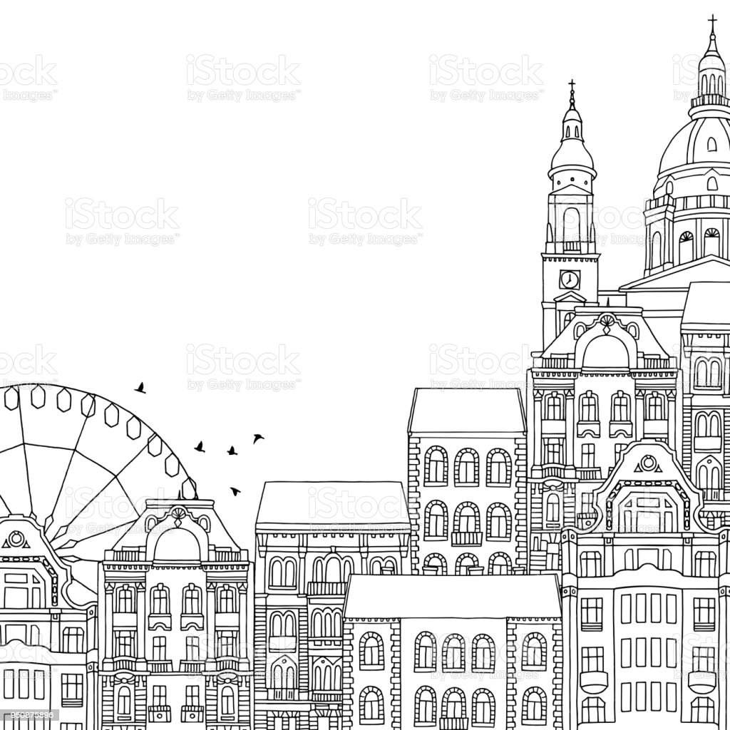 Illustration of Budapest with space for text vector art illustration