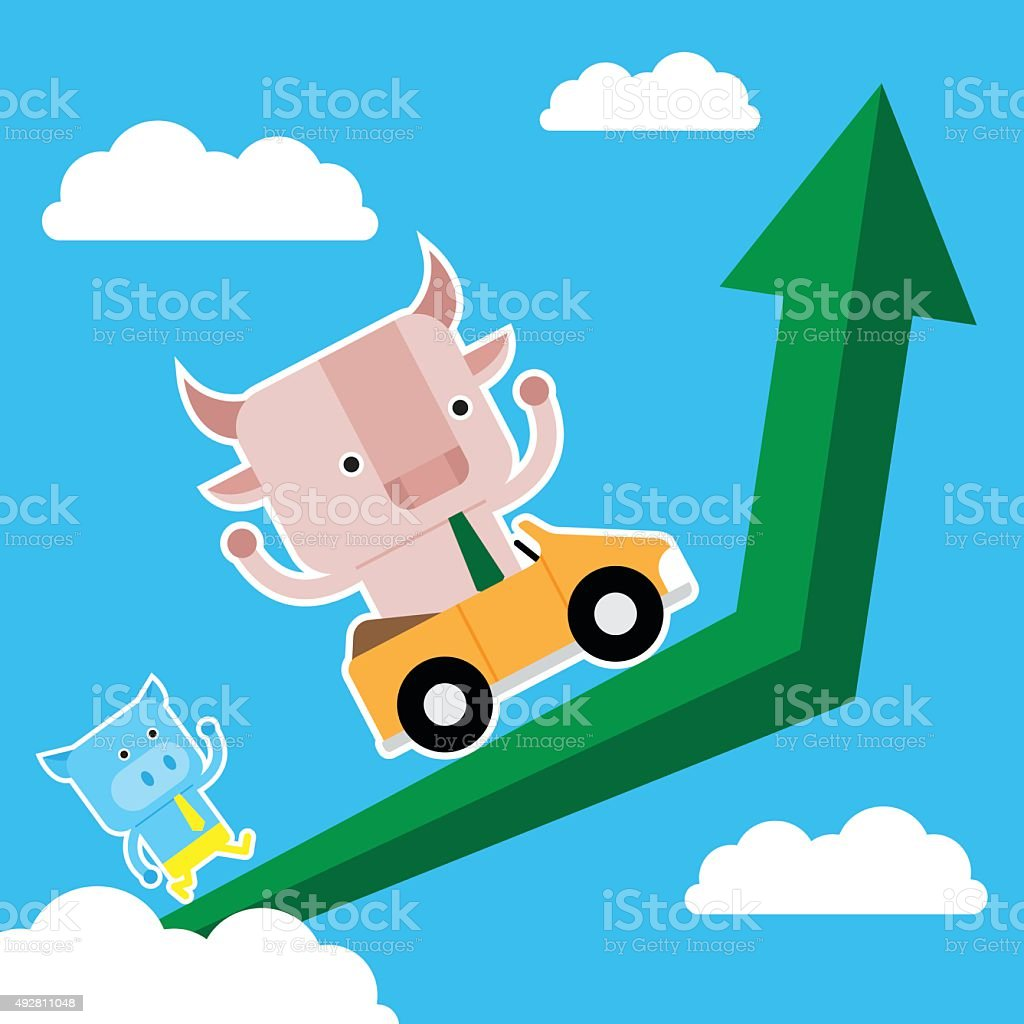 Illustration Of Bull And Pig Symbol Of Stock Market Trend Stock