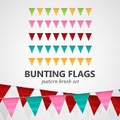 illustration of bunting flags pattern brush set
