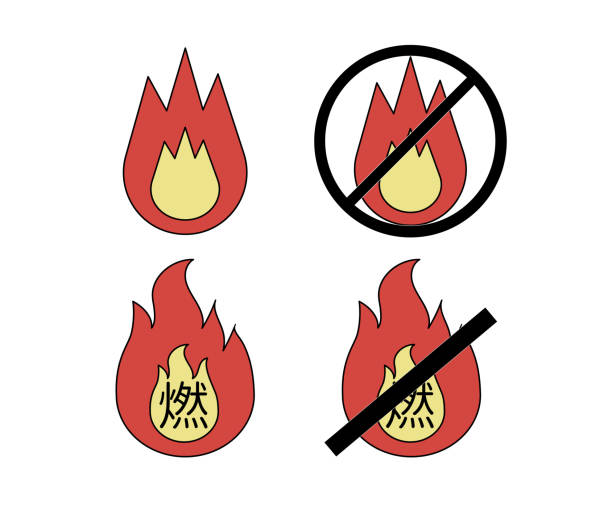 illustration of burnable garbage and Non-burnable garbage illustration of burnable garbage and Non-burnable garbage dumpster fire stock illustrations