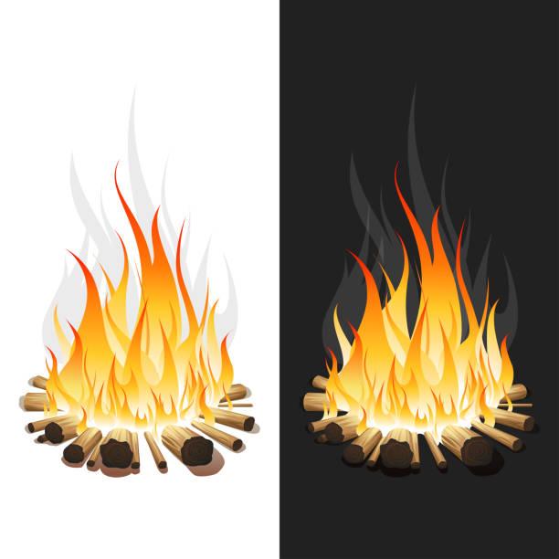 Illustration of Burning Bonfire with Wood on White and Black Background vector art illustration